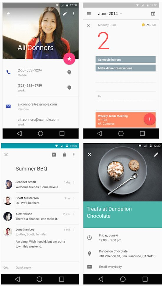 Exemple d'interfaces Android utilisant le Material Design